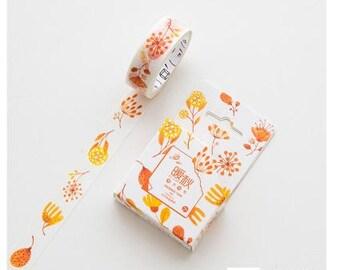 M521 Autumn Flowers Washi Tape / Masking Tape, 1.5cm x 7m masking tape, floral washi tape, orange washi, scrapbooking, journaling, deco tape