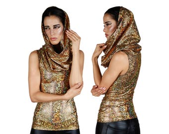 Hooded Top in Gold Hologram, Holographic Oversize Hood, Burning Man Clothing, Glam Rock, Dance Stage Wear, by LENA QUIST