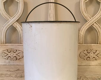 Vintage White Enamel Bucket - Rustic Farmhouse Pail - Milk Pail