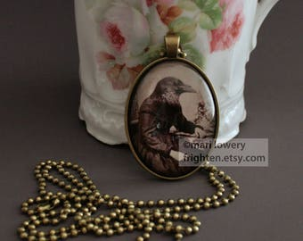 Halloween Pendant, Oddities, Raven Art, Dark Jewelry with Long Chain and Gift Box, Gothic Necklace, Spooky Jewelry, frighten