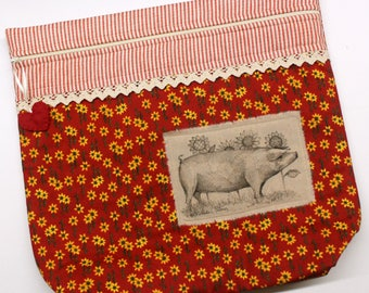 MORE2LUV Limited Edition Red Sunflowers Pig Cross Stitch Embroidery Project Bag