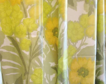 Vintage Modern Curtain Panels LIME and YELLOW Floral 1970s