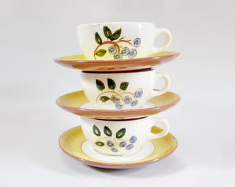 Vintage Cups STANGL Hand Decorated BLUEBERRY Set of 3