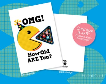 Printable BIRTHDAY Cards, PacMan, Retro, Pop Art Birthday, Instant download Birthday, OMG card, Cartoon Birthday Cards, Friendship Cards