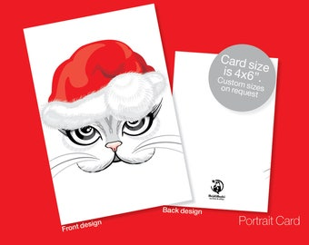 Printable CHRISTMAS Card, Seasons Greetings, Santa baby, Cat, Christmas Greetings, Instant download, Cat, Kitty, Sexy Christmas