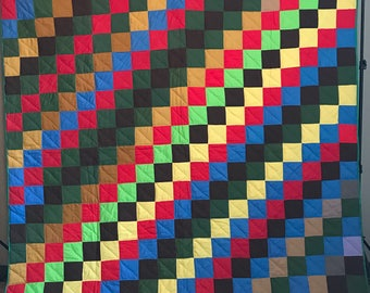 Vintage 1970's Stair Step Quilt Bright Coloful