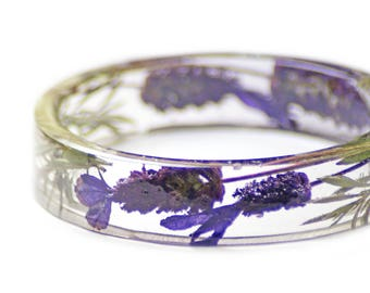Lavender Bracelet -Lavender Jewelry-Lavender Gifts- Resin Jewelry- Resin Flower Bangle- Purple Flower Bracelet- Modern Flower Child
