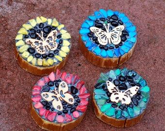 Cute mosaic flower magnets/set of 4/mosaic flower/fridge magnets/rustic wood rounds/refrigerator decor/under 20/stocking stuffer