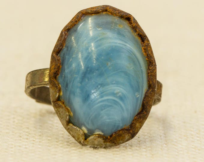 Blue Cameo Style Vintage Ring Wavy Textured Cabachon Adjustable Size Silver Metal 7RI