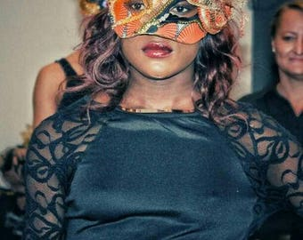 Orange and Gold Fantasy Mask