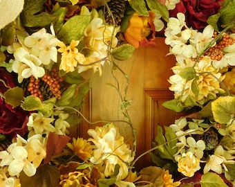 RESERVED FOR stoffgittebri57 Fall Wreath , Autumn Wreath ,Thanksgiving Wreath ,  Fall Door Wreath , Wreath , Outdoor Wreath , Country Wreath