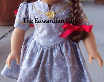 OOAK 1930s, 1940s gray and silver white floral print dress for 18 inch play dolls such as American Girl, Springfield, OG. Made in USA