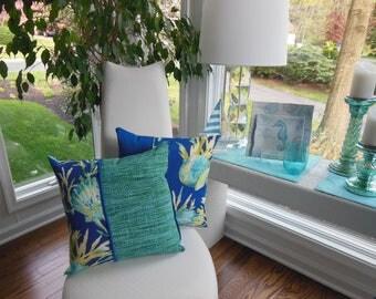 Outdoor Seashell Pillow - Beach Pillow - Porch Pillow - Starfish Pillow - Coral Pillow - Royal Blue Pillow - Teal Pillow - Outdoor Pillow