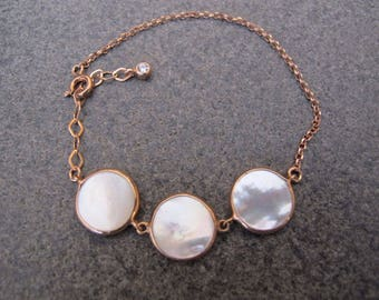 Mother of Pearl Gold Plated Sterling Silver Bracelet