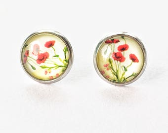 poppy flower glass earrings, stud poppy earrings, stainless steel anti allergy jewelry, Mother's Day gift, red flowers