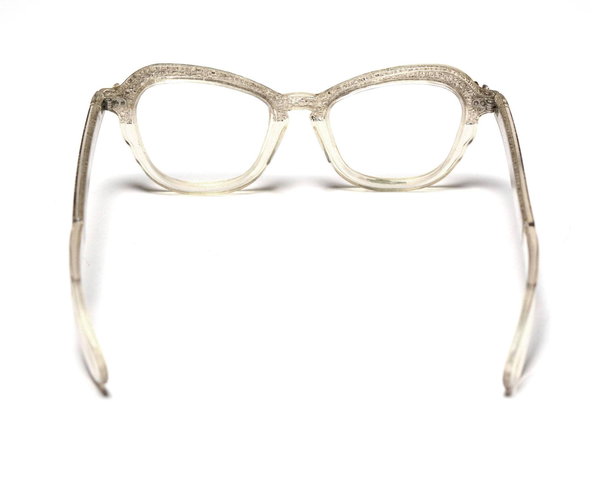 vintage 60s eyeglasses clear plastic frames 1960 eyewear snakeskin ...
