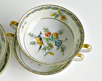 Vintage Limoges France C Ahrenfeldt Bird Of Paradise Bouillon Soup Bowls, 1930s, S&G Gump Co. San Francisco