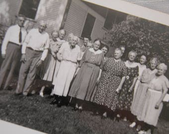 Funny Reunion By the Lilacs     1930's  Men Women Real People  Group of Folks / Vintage