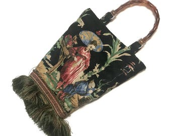 Vintage MIVI chinoiserie Purse Handbag, with thick fringe, dual lucite handles, crafted of vintage barkcloth fabric, black ground, asian