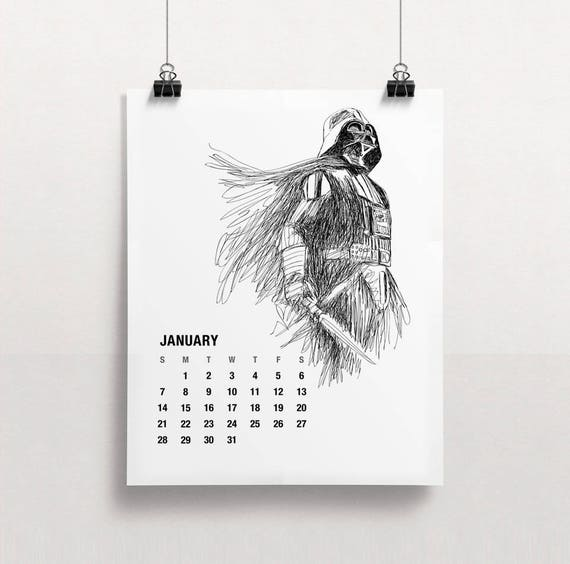 2018 calendar printable star wars calendar holiday gift for Planning mural 2017