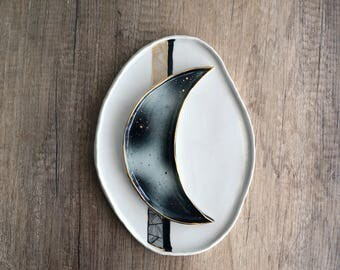 Moon ring dish - stellar crescent moon plate with 24K gold stardust - porcelain ring and jewelry holder - wedding ring bearer dish