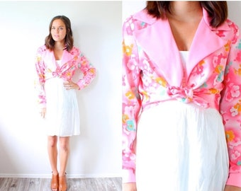 40% OFF CHRISTMAS in JULY Vintage Medium pink floral blouse // boho shirt blouse // 70's crop top jacket // pink tied up blouse // collared