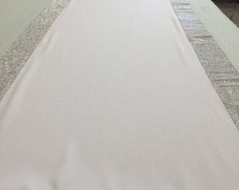 Custom White  Gabardine Aisle Runner 25  ft  Silver Rhinestone Sparkle border 42 inches wide ON SALE  ready for immediate shipping