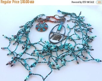 SUMMER SALE Destash  Craft Lot of Vintage and Salvaged Turquoise Blue Colored  Jewelry Parts and Pieces