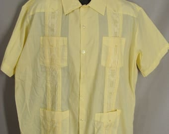as-is. Yellow Haband Guayabera Mexican Wedding Shirt. OR Customizable Zombie Halloween Costume. Optional Tatters Holes Stains Blood. size XL