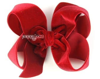 """Red velvet hair bow, 4"""" hair bow, Christmas hair bow, Red girls hair bows, baby hair bow, velvet hair clip, 4 inch large big Fast shipping"""