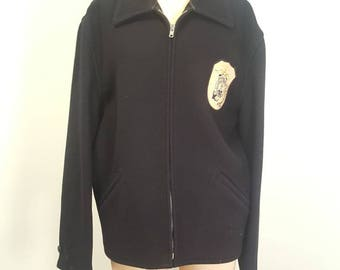 Vintage 1950s Melton Wool King O Wear Jacket. Admiral Farragut Academy Patch. No Holes. Workwear. 38 to 40