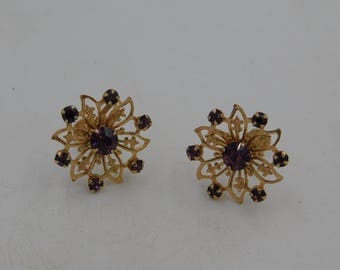1950's Vintage Crystal or Rhinestone Costume Jewelry Screw Back Earrings Snowflake Design dr62