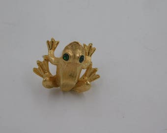 Vintage Gold Tone Frog Tie Pin or Scatter Pin with Green Rhinestone Eyes Avon dr64