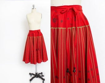 Vintage 1970s CIRCLE Skirt - German Cotton Gold Printed Red  High Waisted Ethnic - Medium
