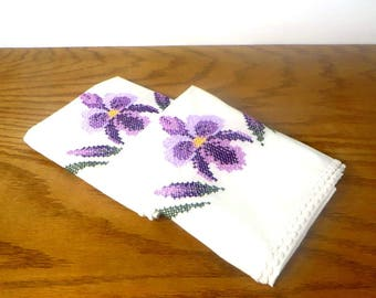 Vintage Cross Stitched Orchid Pillowcases White Pillowcases with Purple Flowers Crocheted Edge