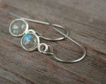 Titanium Earrings Labradorite in Sterling Silver on Titanium Ear Wires