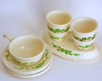 Vintage Oven Serve, Homer Laughlin China, Embossed Green Flowers, Plates Handled Soup, 9-inch Platters, OvenServe Custards