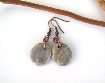 Jewelry Beach Stone Earrings Mediterranean Beach Pebble Natural Rock River Stone Earrings Rustic Jewelry Beach Pebble Copper GRAY DROPS
