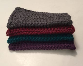 4 Large dish cloths/ dish rags/ wash cloths made with 100% cotton yarn wonderful deep rich colors