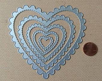 Scalloped Stitched Heart Die 5pc