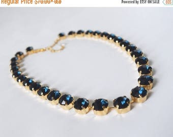 SHIPPING DELAY SALE 10% Navy Rhinestone Necklace, Montana Sapphire Jewelyr, Navy Blue Necklace, Georgian Paste Collet, Regency Jewelry, Jane