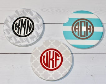 Monogram Car Coaster - Stone Car Coaster - Cup Holder Coaster - Personalized Car Coaster