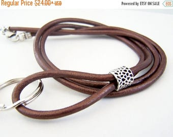 Leather Id Lanyard, Metallic Bronze Color, Mens ID Badge Holder Lanyard, 28-36 inch, Badge Clip, KeyChain Lanyard, by Eyewearglamour