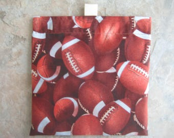 Footballs Reusable Sandwich Bag, Reusable Snack Bag, Washable Treat Bag with Easy OpenTabs