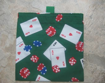 Poker Playing Cards Reusable Sandwich Bag, Reusable Snack Bag, Washable Treat Bag with easy open tabs