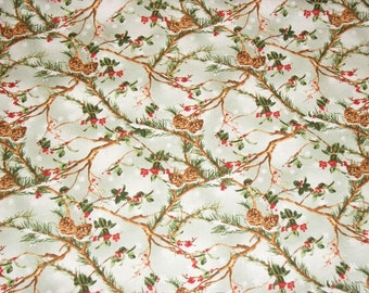 Pine Cone Fabric, Christmas Fabric, By The Yard, Wilmington Prints, Cardinal Rule, Sewing Fabric, Novelty Fabric, Quilting Winter Fabric