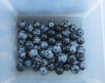 6mm Snowflake Obsidian Gemstone Beads