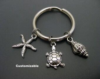 Turtle Keychain / Turtle Key Ring / Beach Keychain / Ocean Keychain / Shell Keychain / Seelife Keychain / Turtle Gift / Turtle Lover