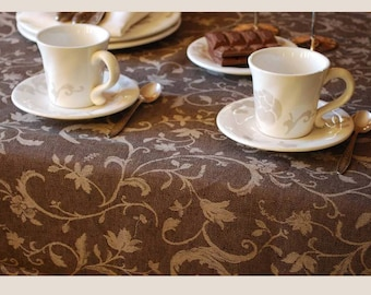SALE. Jaquard floral Linen Tablecloth. 190cm x145cm. Dark chocolate brown / light brown