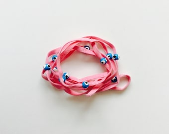 Mauve Pink Suede Evil Eye Lucky Eye Beads String Wrap Bracelet Choker Necklace Anklet Hair Accessory